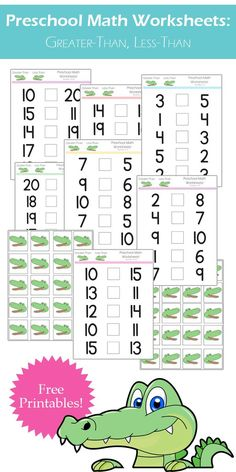 Preschool Math Worksheets: Greater-Than, Less-than worksheets from One Beautiful Home Blog