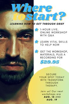 """NEW SPOTS AVAILABLE! Join us on August 15 or August 19 for our """"Where To Start: Getting Through Grief"""" workshop. Only $29.95!   With the weight of grief crashing down on you, it's hard to know where to even begin. We can help you figure that out. This live, online workshop will give you a solid foundation to give you focus and something to work toward. • • • #onlinetherapy #teletherapy #grief #dealingwithchange #dailychallenges #lifechanges #loss #lossoflovedone #lossofchild #jobloss… Loss Of Loved One, Child Loss, Daily Challenges, Grief, Foundation, Workshop, Therapy, How To Get, Learning"""
