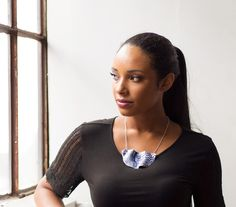 New to the Design Annex is Toronto Artist Indigo & Violet's Folded porcelain textured necklace with silver chain. #designannex