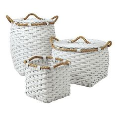 Serena & Lily Rope Hamper White ($38) ❤ liked on Polyvore featuring home, home decor, small item storage, baskets, white home decor, cubby bins, handwoven baskets, white baskets and rope basket