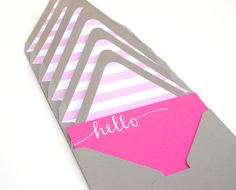 Striped Pink and Grey Stationery Set