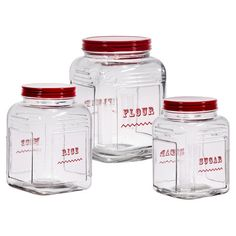 These Flour, Rice, and Sugar Glass Canisters are labeled and ready for all your cooking supplies. The red lids will look perfect in your farmhouse kitchen! Kitchen Items, Kitchen Gadgets, Kitchen Decor, Kitchen Stuff, Kitchen Nook, Red Kitchen, Kitchen Things, Kitchen Products, Glass Kitchen