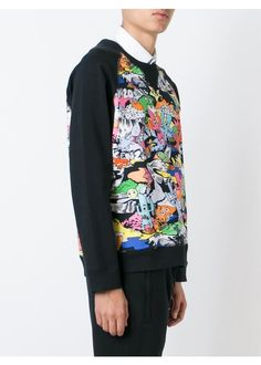 Multicoloured stretch cotton 'Cartoon' sweatshirt from Kenzo featuring a round neck and long sleeves.