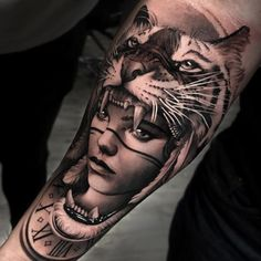 realistic girl and tiger tattoo design by tatoo Best Sleeve Tattoos, Leg Tattoos, Arm Tattoo, Body Art Tattoos, Small Tattoos, Compass Tattoo, Tattoo Art, Tattos, Upper Shoulder Tattoo