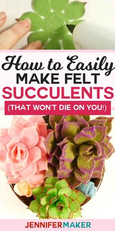 Succulents: Easy to Make and Won't Die On You How to Make Felt Succulents That Are Easy! Succulents: Easy to Make and Won't Die On You How to Make Felt Succulents That Are Easy! Mason Jar Crafts, Mason Jar Diy, Bottle Crafts, Felt Flowers, Fabric Flowers, Diy Flowers, Paper Flowers, Paper Butterflies, Diy Projects To Try