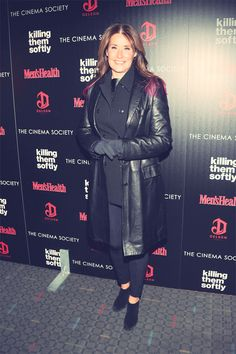 Lorraine Bracco attends Cinema Society Screening of The Weinstein Company's Killing Them Softly at SVA Theatre in New York Nov. Lorraine Bracco, Leather Coats, Theatre, Pin Up, Cinema, Winter Jackets, Hollywood, Actresses, Elegant