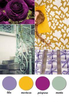 Colour Board. Mint, purple, violet, purple