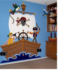 Let us transform your little ones room into a pirate haven with a wall mural like this