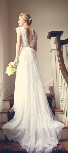 Simple lace wedding dress ...low v-neck back, vintage, classic style