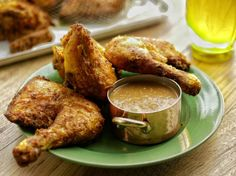 Indonesian Fried Chicken with Hot Peanut Sauce