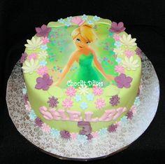 Tinkerbell edible print with fondant flowers - chocolate sponge Birthday Parties, Birthday Cake, Edible Printing, Chocolate Sponge, Fondant Flowers, Tinkerbell, Photo Cakes, Amanda, Desserts