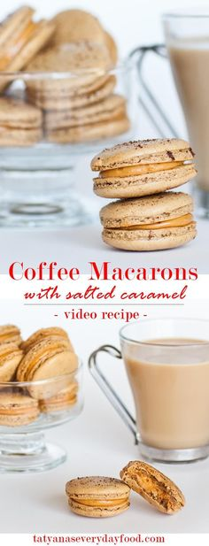 Macarons with Caramel Filling Coffee Macarons filled with salted caramel frosting! With video recipe by Tatyana's Everyday FoodCoffee Macarons filled with salted caramel frosting! With video recipe by Tatyana's Everyday Food Baking Recipes, Cookie Recipes, Dessert Recipes, Baking Desserts, Oven Recipes, Easy Recipes, Tatyana's Everyday Food, Dessert Oreo, Macaron Cookies