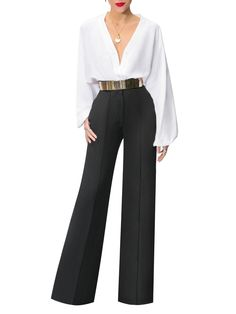 My Style Elegant Long Sleeve Single-Breasted V Neck High-Waist Belted Suit – shewaves Do It Yourself Wide Pants Outfit, Suit Pattern, Pantalon Large, Vetement Fashion, Ideias Fashion, Pants For Women, Formal Pants Women, Fashion Outfits, Single Breasted