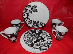 10 PC Damask Dinnerware Black White Halloween Plates Cups Mugs | eBay