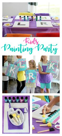 This painting party for kids is such a fun activity! Everyone gets to go home with a one-of-a-kind party favor---a painting for their bedroom! Crafts for kids Painting Party For Kids: A fun and creative birthday idea! Birthday Party At Home, 10th Birthday Parties, Art Birthday, Kids Birthday Party Games, Crafts For Birthday Parties, Kid Parties, 10th Birthday Party Ideas, Girls 9th Birthday, Pool Parties