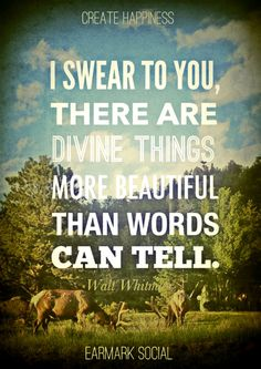 I swear to you there are divine things more beautiful than words can tell