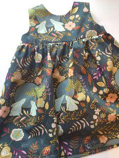 Animal Floral Print Baby Dress.  Bunny Print Dress. Baby Dress in Beautiful Fabric. 'Geranium Dress'. Handmade Gift Baby Girl. Modern Dress.