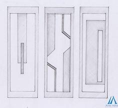 Wardrobe leafs sketch design work by AmerAdnan Associates Bedroom Door Design, Wardrobe Design Bedroom, Door Design Interior, Wooden Main Door Design, Front Door Design, Bed Measurements, Pop False Ceiling Design, Drawing Furniture, Wardrobe Door Designs