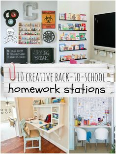 Top Ten Creative Homework Stations - LOVE these! They run the gamut from a tiny spot in the kitchen to an entire room! Great ideas!!