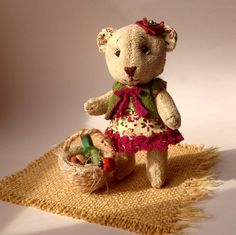 Teddy bear Marusya miniature bear textile toy by MaryankaDolls