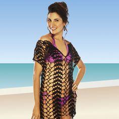 Saída de praia túnica preta Camila