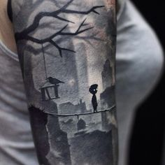 Amazing upper arm Limbo tattoo sleeve by Aleksei Tompson