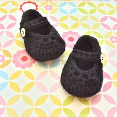 Baby Girl Crochet Booties Pattern | Black Baby Girl Booties - Modern Crochet Mary Jane Shoes - Infant 3 to ...