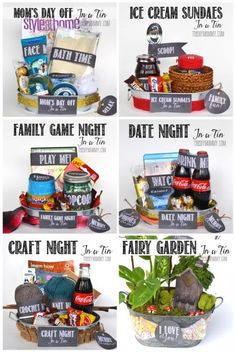 Do it Yourself Gift Basket Ideas for all Occassions - Non Holiday Gift in a Tin ideas for Family Night - Game Night - Movie Night and MORE via The DIY Mommy GIFTS - all occassions Themed Gift Baskets, Diy Gift Baskets, Raffle Baskets, Gift Basket Ideas, Creative Gift Baskets, Grab Bag Gift Ideas, Hamper Ideas, Gift Baskets For Families, Homemade Gift Baskets