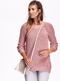 Women's Wool-Blend Shaker-Stitch Sweater