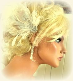 Ivory Peacock Feather Bridal Hair Fascinator by kathyjohnson3, $38.00