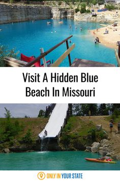 Swim, boat, and relax at this beautiful hidden beach in Missouri. You'll love the thrilling slides and clear blue water. Once an abandoned quarry, it's now the perfect place for family-friendly summer fun. Summer Travel, Summer Fun, Hidden Beach, Blue Beach, Natural Wonders, Road Trips, Trip Planning, Missouri, Perfect Place