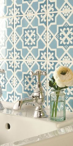 Liberté Blue Tapestry tiles from the Odyssey collection by Original Style, used as a basin splash back. Available to order from Simply Tiles. Blue Kitchen Tiles, Modern Bathroom Tile, Bathroom Ideas, Bathroom Inspiration, Patchwork Tiles, Decorative Wall Tiles, Blue Tapestry, Traditional Tile, Deco Addict