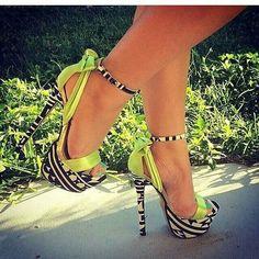 Lime black n white 5 in heels