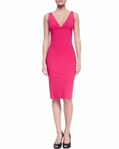 T8F5K La Petite Robe by Chiara Boni Sleeveless V-Neck Fitted Cocktail Dress, Lampone 408