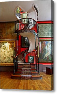Art Nouveau and Art Deco — Spiral Staircase, National Museum, Paris Interior Design Meaning, Home Design, Design Ideas, Design Art, Grand Staircase, Staircase Design, Black Staircase, Staircase Ideas, House Staircase