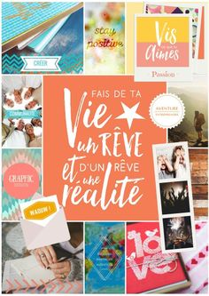 Tableau de vision - vision board - HappyFlow - Agenda Vie Positive, Positive Attitude, Positive Affirmations, Bujo Planner, Miracle Morning, Visualisation, Sketch Notes, Inspiration Boards, Board Ideas