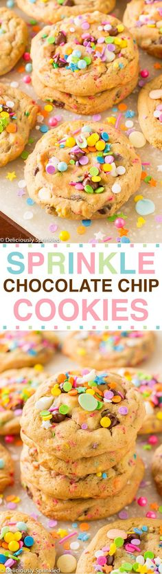 Sprinkle Chocolate Chip Cookies: The BEST chocolate chip cookies loaded with SPRINKLES! #christmascookies #christmasdesserts #christmasrecipes #holidayrecipes #holidaybaking #newyearseveparty