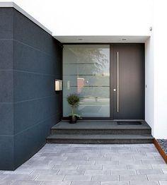 22 Modern Door Design Ideas - Local Home US - Home Improvement Black Front Doors, Modern Front Door, Front Door Design, House Doors, House Entrance, Front Door Entrance, Front Entry, Exterior Doors, House Front