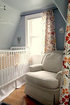 gray nursery with pops of color and a tree decal plus comfy chair - I want to spend time here!  QUILT FiTTED SHEET CRiB SKIRT 3 Piece Custom by RockyTopDesign, $273.00