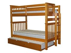 Bedz King Tall Mission Style Bunk Bed with End Ladder and Trundle, Twin Over Twin, Honey