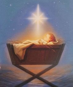 Holy Night- Baby Jesus on the first Christmas Night with the star of Christmas Christmas Jesus, Christmas Nativity, Christmas Art, Christmas Holidays, Christmas Night, Vintage Christmas Cards, Christmas Pictures, True Meaning Of Christmas, A Child Is Born