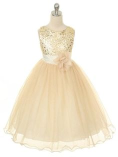Gold Sequined Bodice with Double Tulle Skirt Flower Girl Dress (Sizes 2-14 in 7 Colors)