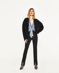 STRIPED BODYSUIT WITH FRONT KNOT-NEW IN-WOMAN | ZARA United States