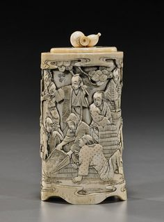 Antique Japanese Carved Ivory Box