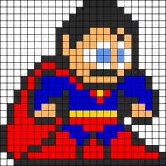 Superman Perler Bead Pattern bead pattern could be used as a cross stitch patern