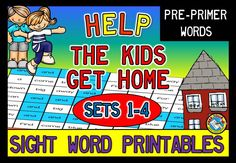 SAVE 20% WITH THIS BUNDLE (SETS 1-4)! LIMITED TIME EXTRA REDUCTIONS! This PRINT AND GO fun pack, containing 40 worksheets, is ideal to practice sight word recognition in a fun way. Students have to help the kids find their way home by coloring all the boxes with a particular sight word.  Pre-Primer words: a and away big blue can come down find for funny go help here I in is it jump little look make me my not one play red run said see the three to two up we where yellow you