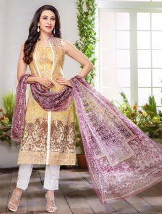 Karisma Kapoor Light Yellow Cotton Satin Kameez With Pant 59823