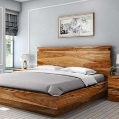 Looking For Solid Wood Beds? Get solid wood platform bed in custom size, shade and design of your choice. Wood Bed Design, Bedroom Bed Design, Bedroom Furniture Design, Wood Bedroom, Bed Furniture, Bedroom Ideas, Bed Designs In Wood, Simple Furniture, Modern Furniture