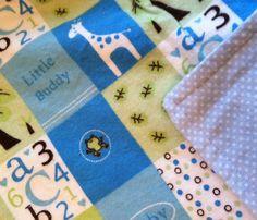 Blue Flannel Baby Blanket ABC Giraffe  Boys by DesignsByDiBlankets, $21.50