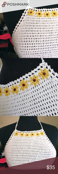Sunflower Crotchet Halter Top Off white crotchet halter top, with sunflowers. Adjustable waist and top. Fits a size small and medium. (32a, 32, 34a, 34b) ✨HAND MADE✨ Voga Lup Tops Crop Tops